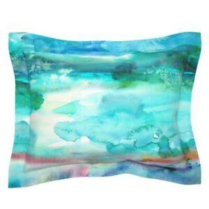 Aquamarine Abstract Blue Green Purple Watercolor Paint Pillow Sham by Roostery
