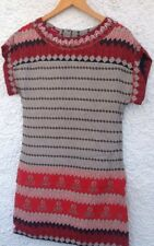 MONSOON Size 8 Aztec Print Tunic Dress Beaded Neckline Red Black Grey Lined