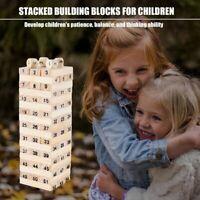 54Pcs Wooden Tower Hardwood Building Blocks Toy Domino Jenga Game Toys T5