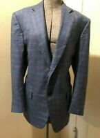 Zegna Navy Blue Check 100% Pure Cashmere Size 50R SPORT JACKET