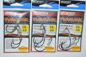3 packs owner twistlock hook 5132w-024 black chrome 4/0 weighted 1/8oz
