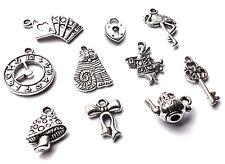 10 x Mixed Alice in Wonderland Silver Charm Pendants Teapot Key Cat Clock Rabbit