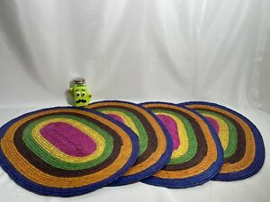 Orange Placemats - Set of 4 - Mexican Style - Eco-Friendly, Handmade, Woven