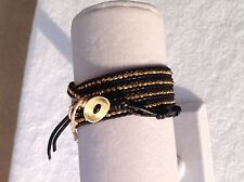 AUTHENTIC ChanLuu GOLD Plated Sterling NUGGETS BL Leather 5X Wrap Bracelet CL17B