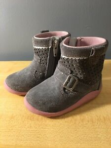Stride Rite Kinsey Gray and Pink Suede Infant Boots in Size 4.5M