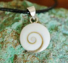 Silber Anhänger 2,5 cm Shiva Eye 3. Auge Schnecke Argonit Glück Modern Schutz