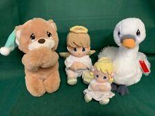 Precious Moments Lot Of Four Plush, 2 Angels, 1 Swan, 1 Praying Bear