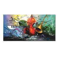 Framed Hand Painted Modern Abstract Music Oil Painting On Canvas Decor Artwork