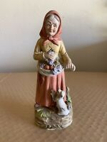 Vintage Ceramic Woman Figurines Harvesting Fruit With Dog Collectible