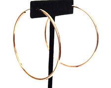 CLIP-ON EARRINGS ROSE GOLD TONE SIMPLE THIN HOOP EARRINGS 2.25 INCH SPRING HOOPS