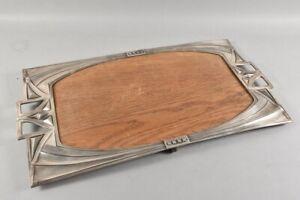 k60a17- Jugendstil Metall Tablett mit Holzplatte, um 1900