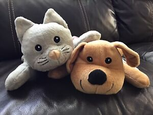 Melissa & Doug Plush Stuffed Brown Lot Of 2 Dog and Grey Cat 9 inches