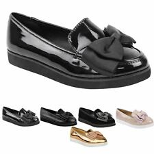 New Ladies Loafer Creeper Chunky Sole Bow Flat School Work Dolly Shoes Size