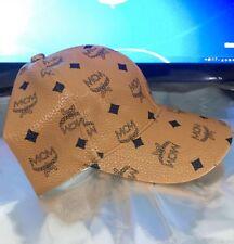 MCM Visetos Cognac Brown Leather Baseball Cap🧢 Adjustable Muchen Badge Hat