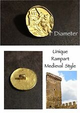 "Rampart Medieval Style Metal Gold Tone Button Large 1"" Diameter Costume"