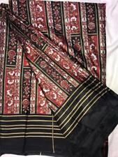 Black Red White Tan Satin Sari Indian Saree Bollywood Fabric Panel Drape