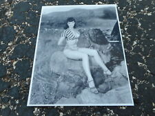 8x10 Photo - Bettie Page - Pinup Model - #BP441 - Sitting on a rock
