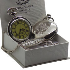 STEAMPUNK SILVER POCKET WATCH & Chain Clock Cogs Wheels Industrial Design Boxed