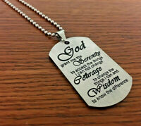 Stainless Steel Serenity Prayer Military Dog Tag Necklace Engraved AA NA