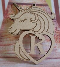 Unicorn MDF Heart Personalised Laser Cut 195mm tall craft Blank plaque