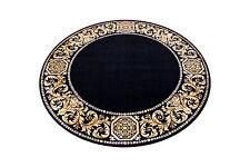 Teppich Rund Kunst Seide Mäander Medusa Möbel schwarz Carpet. 152 cm ∅ versac