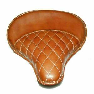 Leather Front Solo Brown Saddle Seat Diamond Stitch for Royal Enfield (Electra)