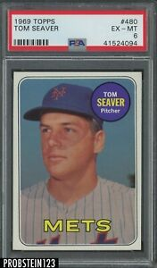 1969 Topps 480 Tom Seaver HOF New York Mets PSA 6 EX-MT