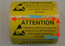 1000 x ESD Attention Anti Static Sticky Warning Adhesive Labels 50mm x 25mm