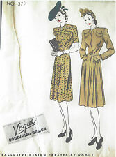 1940s Vintage VOGUE Sewing Pattern B34 DRESS & COAT (1111)