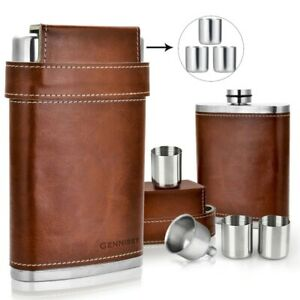8oz Liquor Stainless Steel Pocket Hip Flask  Leather Full Set 3 Cups With Funnel
