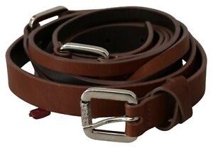GF FERRE Belt Leather Brown Slim Double Wrap Buckle One Size RRP $150