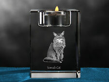 Somali Cat, crystal candlestick with cat, souvenir, Crystal Animals Ca