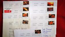 """9 timbres oblitérés sur lettre , thème """" le feu """" 2012"""