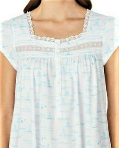 NWT EILEEN WEST SEASIDE BOATS 100% COTTON RUFFLE HEM NIGHTGOWN GOWN L $58 LARGE