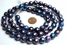 Strang 64 cm violett blaue facettierte böhmische Glasperlen 10 mm