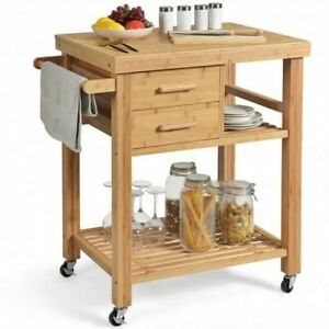 Bamboo Kitchen Trolley Cart with Tower Rack and Drawers