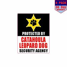 Protected By Catahoula Leopard Dog Security 4 pack 4x4 Inch Sticker Decal