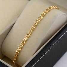 "18k Yellow Gold Filled Charm Bracelet 9""Chain 5mm Unique Link Gf Fashion Jewelry"