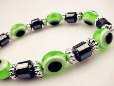 Lime Evil Eyeturkish Beads Gourmette Safety Goodluck Charm Adjustable Bracelets