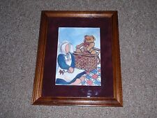 """PICTURE """"of Amish Girl, Basket, Bear & Quilt. Hand Colored, USED!!!"""
