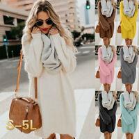 Women's Winter Sweater Knit Turtleneck Warm Long Sleeve Pocket Tops Mini Dress