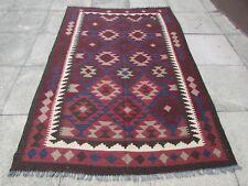 Kilim Vintage Traditional Hand Made Oriental Brown Red Wool Kilim 238x161cm