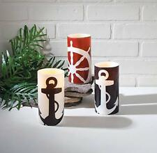 Nautical Battery Operated Candle Trio-Set of 3 Anchor & Ships Wheel