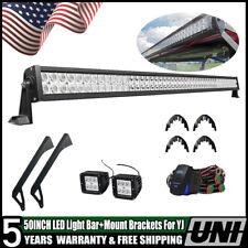 """50"""" LED Light Bar Upper & Lower Mounting Brackets For 76-96 Jeep Wrangler YJ CJ"""