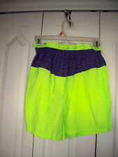 MADE IN USA Medium VINTAGE RARE Nylon NEON Green Purple PullOn Women Shorts