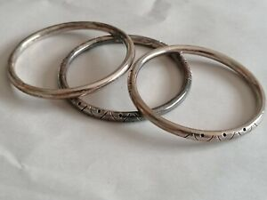 Sterling Silver Taxco Stacking Bangles x3