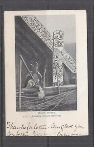 NEW ZEALAND, MAORI WHARE, ANCIENT CARVINGS, 1904 ppc., used.