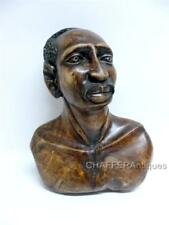 """Vintage Handcrafted African TRIBAL CARVING of Bust of MAASAI Man 15"""""""