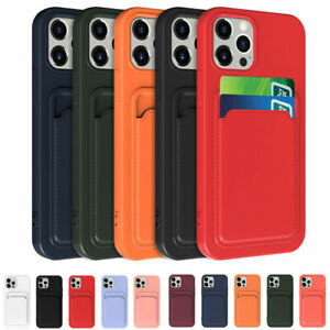 Liquid Silicone Case For iPhone 12 Pro Max 11 XS XR 8 7 Card Holder Phone Cover