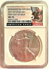 2017-W BURNISHED SILVER EAGLE-FIRST DAY OF ISSUE-NGC MS 70-BLACK LABEL-KEY DATE